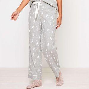 Loft Grey and White Owl Pajama Pants